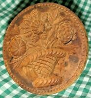 Antique Primitive Treen  Wood COOKIE BUTTER MOLD Floral Spray in Vase Springerle