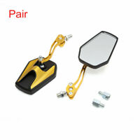 Pair Gold Tone Adjustable Hexagon Rear Side View Mirror for Motorcycle Motorbike