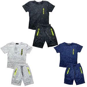 Boys Girls T-Shirt Short Set Zip Pockets Kids Pattern Summer Short Outfit Cotton