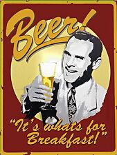 Cerveza su Whats para el desayuno Retro Vintage Divertido Pub Barra de aluminio de metal signos