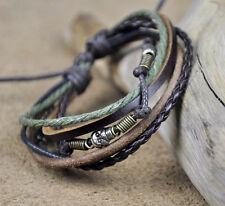 Surfer Handcraft Skull Beads Leather Hemp Bracelet Wristband Brown Green