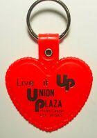 VINTAGE UNION PLAZA HOTEL CASINO LAS VEGAS HEART KEYRING RED /GOLD LETTERS