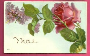 """Greetings embossed postcard/ large pink rose/ lilacs/ """"Mae"""" written in glitter"""