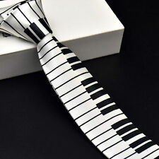 Slim Tie Polyester Black & White Piano keyboard Pattern SKINNY Tie Music Tie