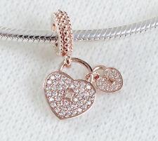 Genuine Rose Gold PANDORA LOVE LOCKS Dangle Charm with CZ 781807CZ ALE R