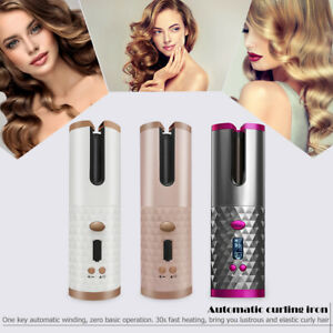 Cordless Auto Rotating Ceramic Hair Curler USB Rechargeable Curling Iron LCD Dis