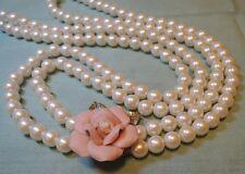 "Estate Vintage Two-Strand Faux Pearls Pink Porcelain Rose Clasp 32"" Necklace"