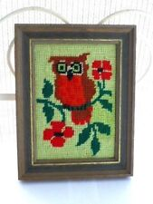 Needlepoint Owl, Retro 1970's, Colorful & Cute, Faux Wood Frame, A+ Condition !