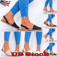 Women Fashion Summer Beach Slip On Casual Shoes Slingbacks Flat Peep Toe Sandals