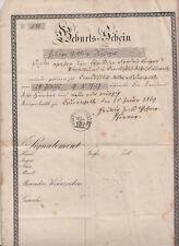Geburtsschein 1869 Cunewalde! (D8