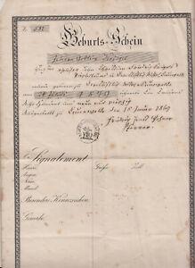 Geburtsschein 1869 Cunewalde ! (D8