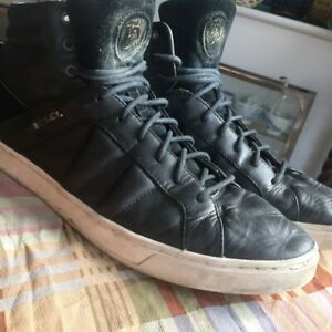 DIESEL BLACK LEATHER HIGH TOP TRAINERS SIZE 11