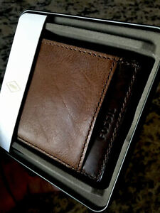 FOSSIL Men's Bifold TYLER Brown Genuine Leather Passcase Wallet new