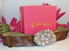 COCHNI~New~$198~*BLING*~BELT Brown LEATHER~Swarovski crystals BRASS BUCKLE 40