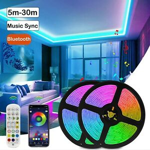 100Ft 50Ft 5M10m LED Strip Lights 5050 Music Sync Bluetooth Remote for TV Rooms