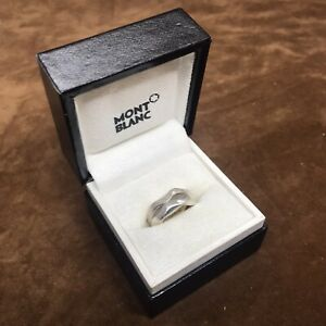 Sterling Silver Montblanc Double-Ring with Box. Marked 925 Montblanc. Size L.