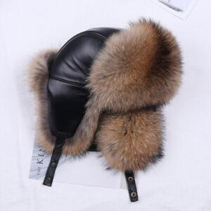 Men's Real Silver Fox Fur Bomber Hat Raccoon Fur Ushanka Cap Trapper Russian