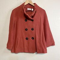 Chicos Womens 1 = M Ammi Wool Jacket Double Breasted Button Front Orange