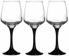 Set of 3 Black Stemmed Tall Red White Wine Glasses 295cc capacity 10oz
