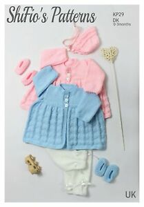 Knitting Pattern for Baby Heart Jacket, Trousers, Bonnet & Shoes,  DK, SKP29