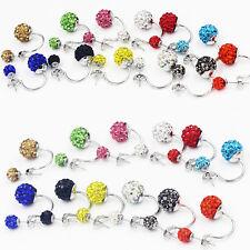 Glitter Sparkle Round Disco Ball Rhinestone Crystal Double Faced Earrings AUTTGS