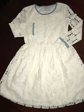 NWT 13/14 STUNNING Johnnie B Mini Boden Dress Ecru Lace with Blue Accents