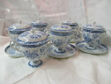 Antique bone china blue & white 6 Footed Cream Soup Bowls with Lid & Underplate