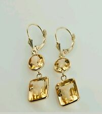 14K YELLOW GOLD DANGLING CITRINE EARRINGS  With Leverback