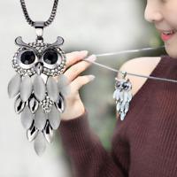 Fashion Women Cat's Eye Owl Charm Statement Pendant Long Sweater Chain Necklace