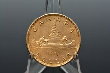 CANADIAN 1947 SILVER DOLLAR POINTED 7 QUADRUPLE HP