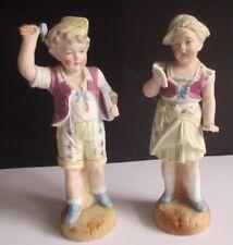 "Antique German Bisque Boy & Girl Heubach? Pair of 10"" Figurines"