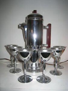 Vtg. 1940/50s Chrome Martini Set
