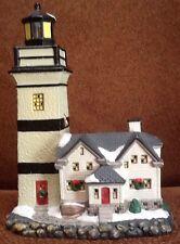 1999 Christmas Village Lighted Santas Workbench Newcastle Lighthouse Very Nice