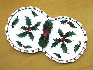 Lefton Holly & Candy Cane Hand Decorated Holiday 2 Part Relish Candy Nut Dish