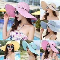 Foldable Womens Wide Brim Straw Hat Floppy Boho Sun Beach Summer Bucket Cap