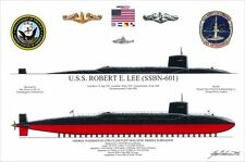 BISHARAT USS ROBERT E LEE (SSBN-601) Ballistic Missile Submarine Print EXCLUSIVE