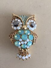 Stone Set Owl Brooch Butler & Wilson Turquoise Faceted