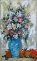 VINTAGE Still Life Signed unframed oil  Painting canvas Mid Century art flowers