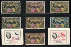 Ecuador Scott #C57-C63 MLH, Plus 2 Labels Day of Gratitude to USA/Roosevelt!