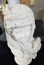 Signed antique Russian marble sculpture of boy