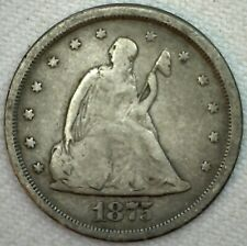 1875 S Seated Liberty Silver Twenty Cent 20c US Coin VG Very Good  K48