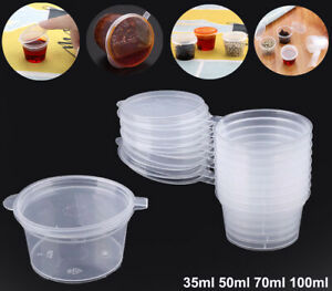 100 Small Plastic Sauce Cups Food Storage Containers Clear Boxes 35ml 50ml 70ml