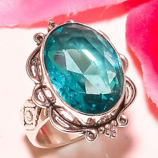 SWISS BLUE TOPAZ 925 STERLING SILVER RING SIZE  7""