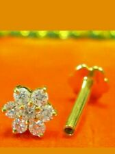 D/VVS1 Diamond Flower Nose Pin Ring Piercing Screw Stud 14k Yellow Gold Over