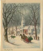 VINTAGE CHRISTMAS SNOW CHURCH HOUSES VILLAGE TREE HORSE SLEIGH GREETING ART CARD