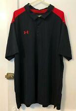 Under Armour UA Men's Team Colorblock Polo Shirt Black Red Short Sleeve 5XL NWT