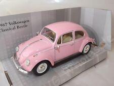 "Volkswagen Beetle Pink Die Cast Metal Model Car Large 7"" Kinsmart Collectable"