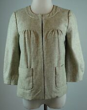 Tabitha Size 0 Wool Blend Jacket Three Quarter Sleeves Gray