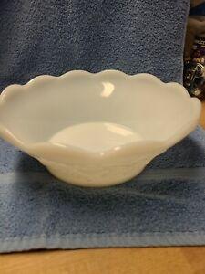 Vintage White Milk Glass Grape Pattern Fruit Bowl