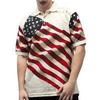 Cotton Traders Allover Patriotic Men's Polo Shirt American Flag